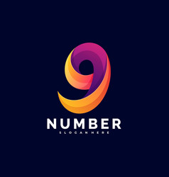 logo number gradient colorful style vector image