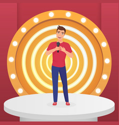 man male singer star singing pop song with vector image