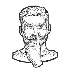 Man picking his nose sketch vector