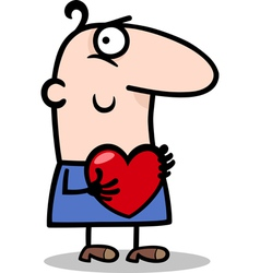 man with heart cartoon vector image