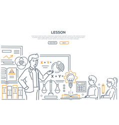 maths lesson - modern line design style banner vector image