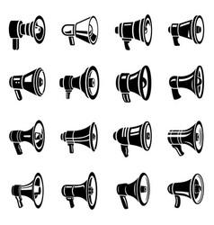 megaphone loud speaker icons set simple style vector image