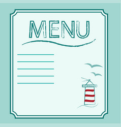 menu in marine theme on background of lighthouse vector image