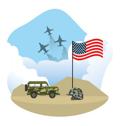 Military car and usa flag design vector