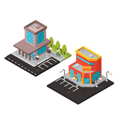 office and mall isometric buildings vector image