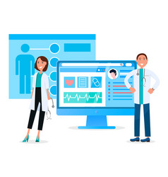 Online medical care doctors on meeting vector