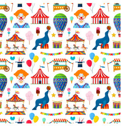 pattern with circus and amusement elements vector image