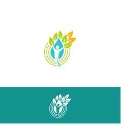 People silhouette with green leaves logo vector