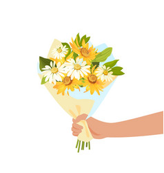 Person giving flowers bouquet romance and gift vector