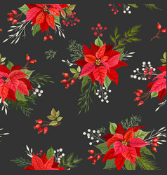 poinsettia christmas seamless pattern with winter vector image