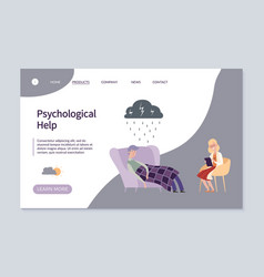 psychological help web landing page vector image