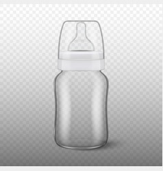 Realistic blank baby bottle icon with cap vector