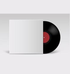 Realistic vinyl record with cover mockup retro vector