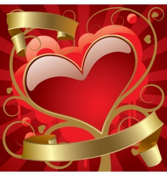 red heart with gold banners vector image