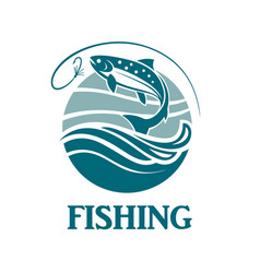 Salmon fishing emblem vector