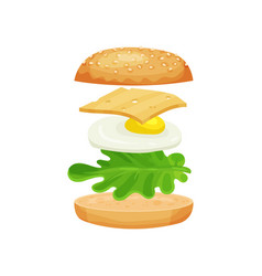 Sandwich with ingredients green lettuce leaf vector
