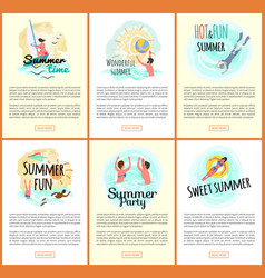 sea adventures and fun websites set with text vector image