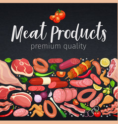 seamless border gastronomic meat products vector image