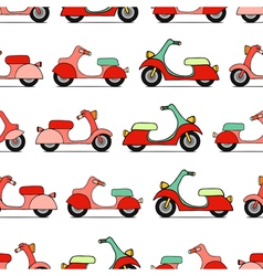 Seamless texture with color scooters vector image