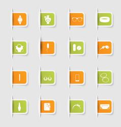 set a collection unique paper stickers fashion vector image
