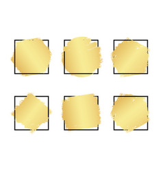 set hand drawn luxury bright golden gradient vector image