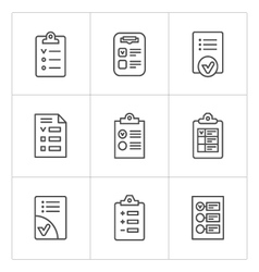 Set line icons of checklist vector