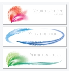 Set of banners with feathers vector