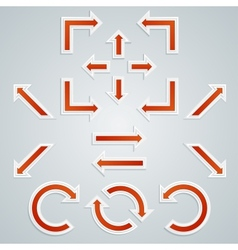 Set of orange sharp arrows for infographics vector