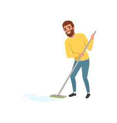 Smiling man cleaning floor with mop cartoon vector