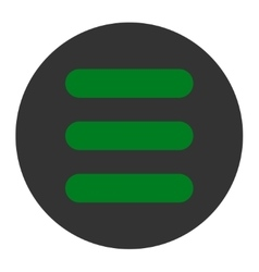 Stack flat green and gray colors round button vector