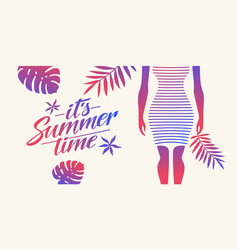 stylish summer poster with tropical leaves and vector image