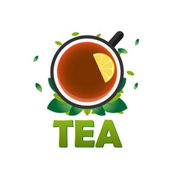 tea house logo company tea logo logo vector image