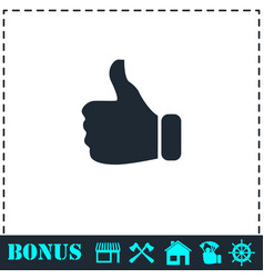 thumb up icon flat vector image