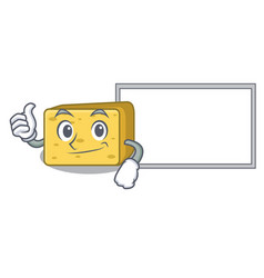 Thumbs up with board gouda cheese character vector