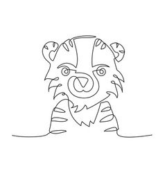 Tiger one line chinese horoscope 2022 year vector