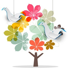 tree with dove birds abstract chestnut tree vector image
