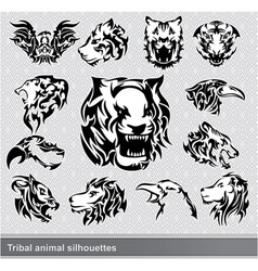 Tribal animal silhouettes set vector