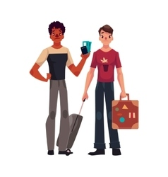 Two young men one with suitcases another holding vector image