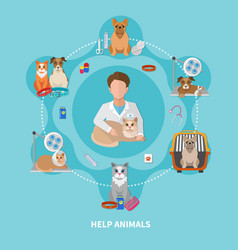 Veterinary care flat poster vector