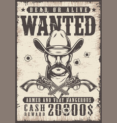 vintage wanted wild west poster vector image