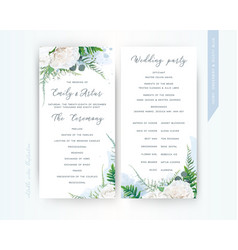 wedding program card floral template dusty blue vector image