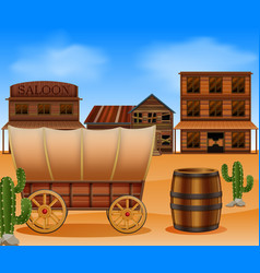 Western town with wooden wagon vector