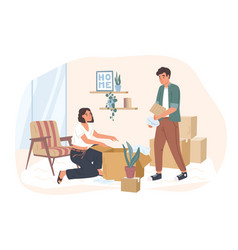 young couple moving to a new house or apartment vector image