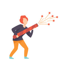 Young man starting a big fireworks rocket people vector