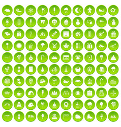 100 childrens parties icons set green circle vector image