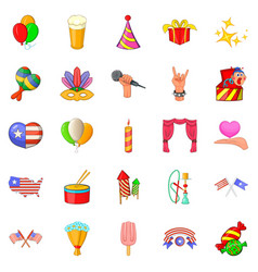 Festive mood icons set cartoon style vector