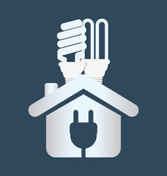 home energy ecology bulb plug vector image