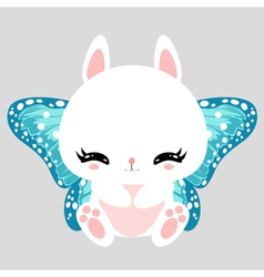Little cute white bunny with blue butterfly wings vector image