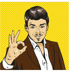 man showing ok sign pop art comic vector image
