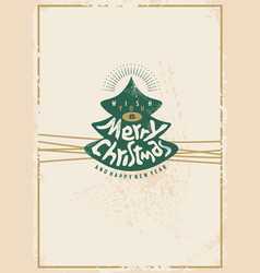 merry christmas retro card design vector image vector image